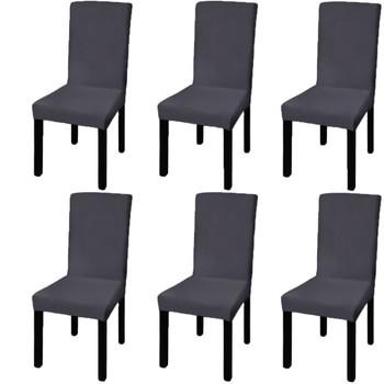vidaXL Rastezljive navlake za stolice 6 kom Antracit boja