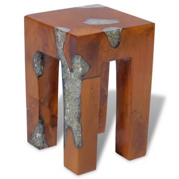 vidaXL Stolac od Tikovine i Smole 30x30x40 cm