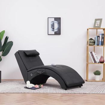 vidaXL Masažni ležaj od umjetne kože s jastukom crni