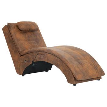 vidaXL Masažni ležaj od umjetne brušene kože s jastukom smeđi