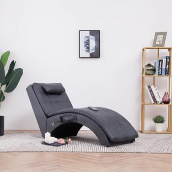 vidaXL Masažni ležaj od umjetne brušene kože s jastukom sivi