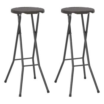 vidaXL Sklopive barske stolice od HDPE-a i čelika 2 kom smeđe