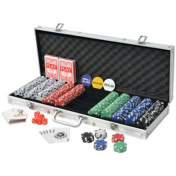 vidaXL Set za Poker s 500 Žetona Aluminijum
