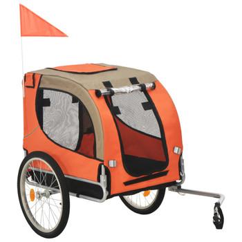 vidaXL Prikolica za bicikl za psa narančasto-smeđa