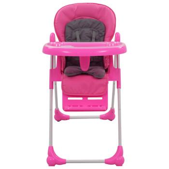 vidaXL Visoka hranilica za bebe ružičasto-siva