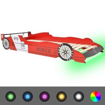 vidaXL Dječji Krevet LED Trkaći Auto 90x200 cm Crveni