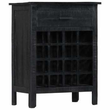 vidaXL Stalak za vino crni 56 x 35 x 75 cm od masivnog drva manga
