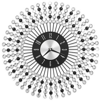 vidaXL Zidni sat metalni 43 cm crni
