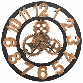 vidaXL Zidni sat metalni 58 cm zlatno-crni