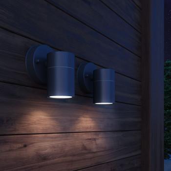 vidaXL Vrtne Zidne Svjetiljke 2 kom Nehrđajući Čelik Svjetlo usmjereno prema dolje