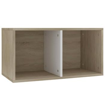 vidaXL Kutija za pohranu vinilnih ploča bijela i hrast 71x34x36 cm