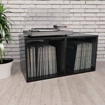 vidaXL Kutija za pohranu vinilnih ploča sjajna crna 71x34x36 cm iverica