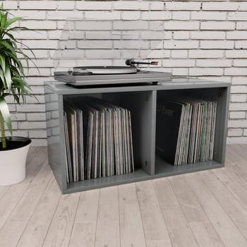 vidaXL Kutija za pohranu vinilnih ploča sjajna siva 71x34x36 cm iverica