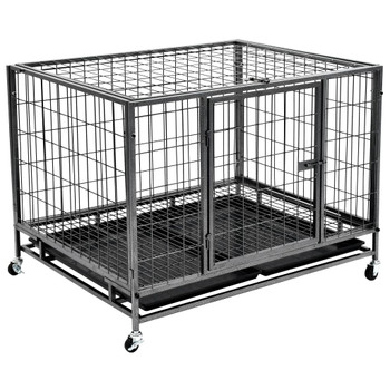 vidaXL Izdržljivi kavez za pse s kotačima čelični 98 x 77 x 72 cm