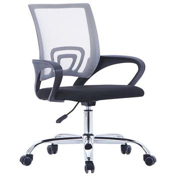 vidaXL Uredska stolica od tkanine s mrežastim naslonom siva