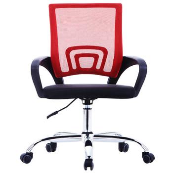 vidaXL Uredska stolica od tkanine s mrežastim naslonom crvena