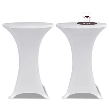 vidaXL Navlaka za stol za stajanje Ø 80 cm bijela rastezljiva 4 kom