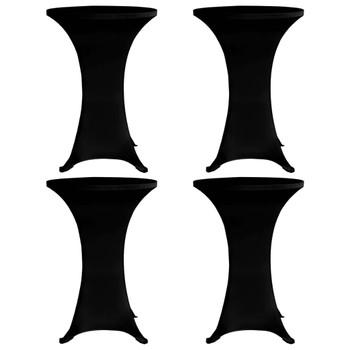 vidaXL Navlaka za stol za stajanje Ø 60 cm crna rastezljiva 4 kom
