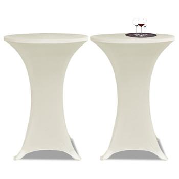 vidaXL Navlaka za stol za stajanje Ø 80 cm krem rastezljiva 4 kom