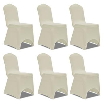 vidaXL Navlake za stolice rastezljive krem 12 kom