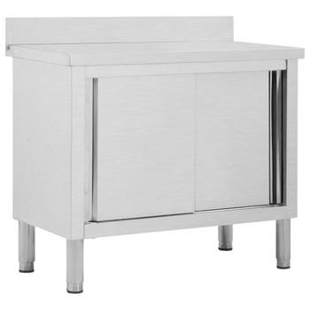 vidaXL Radni stol s kliznim vratima 100x50x95 cm od nehrđajućeg čelika