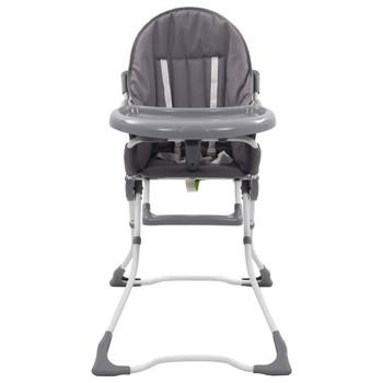 vidaXL Visoka hranilica za bebe sivo-bijela