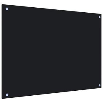 vidaXL Kuhinjska zaštita od prskanja crna 80 x 60 cm kaljeno staklo