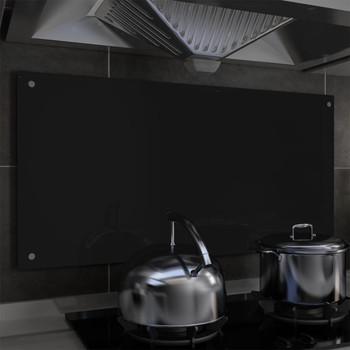 vidaXL Kuhinjska zaštita od prskanja crna 100 x 50 cm kaljeno staklo