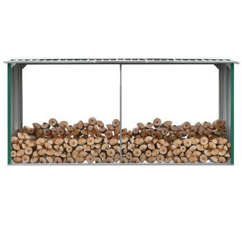 VidaXL Vrtna ostava za drva od pocinčanog čelika 330x92x153 cm zelena