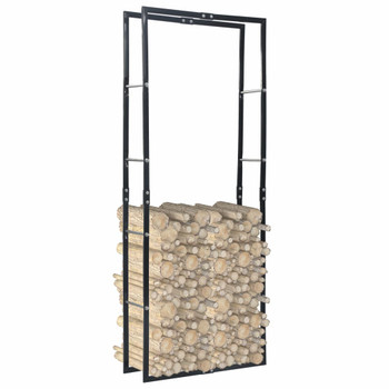 vidaXL Stalak za drva za ogrjev crni 80 x 25 x 200 cm čelični