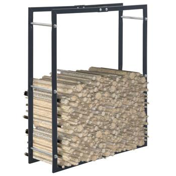 vidaXL Stalak za drva za ogrjev crni 80 x 25 x 100 cm čelični