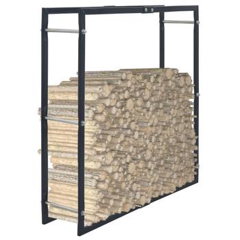 vidaXL Stalak za drva za ogrjev crni 100 x 25 x 100 cm čelični