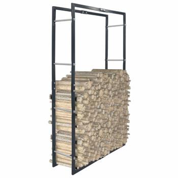 vidaXL Stalak za drva za ogrjev crni 80 x 25 x 150 cm čelični