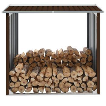 VidaXL Vrtna ostava za drva od pocinčanog čelika 172x91x154 cm smeđa