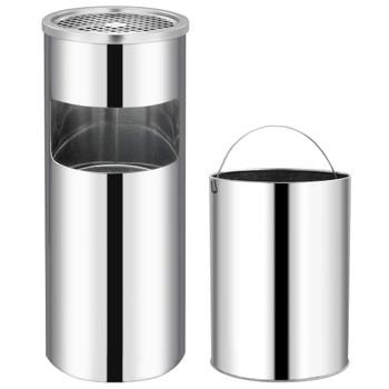 vidaXL Kanta za smeće s pepeljarom 30 L od nehrđajućeg čelika