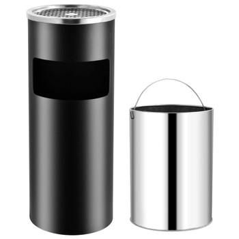 vidaXL Kanta za smeće s pepeljarom 30 L čelična crna