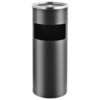 vidaXL Kanta za smeće s pepeljarom 30 L čelična siva