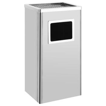 vidaXL Kanta za smeće s pepeljarom 45 L od nehrđajućeg čelika