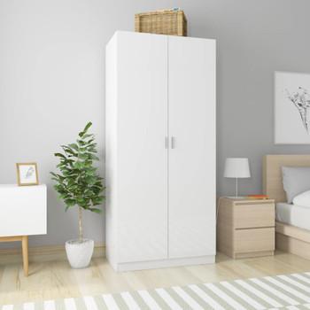 vidaXL Ormar visoki sjaj bijeli 90 x 50 x 200 cm od iverice