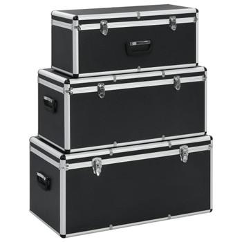 vidaXL Kutije za pohranu 3 kom crne aluminijske