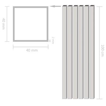 vidaXL Aluminijske cijevi 6 kom četvrtaste šuplje 1 m 40 x 40 x 2 mm