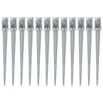 vidaXL Šiljci za tlo 12 kom srebrni 8 x 8 x 91 cm od pocinčanog čelika
