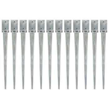 vidaXL Šiljci za tlo 12 kom srebrni 9 x 9 x 90 cm od pocinčanog čelika
