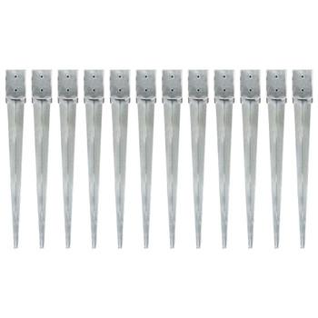vidaXL Šiljci za tlo 12 kom srebrni 10 x 10 x 91 cm pocinčani čelik