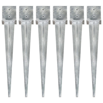 vidaXL Šiljci za tlo 6 kom srebrni 14 x 14 x 91 cm pocinčani čelik