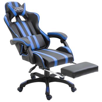 vidaXL Igraća stolica od umjetne kože s osloncem za noge plava