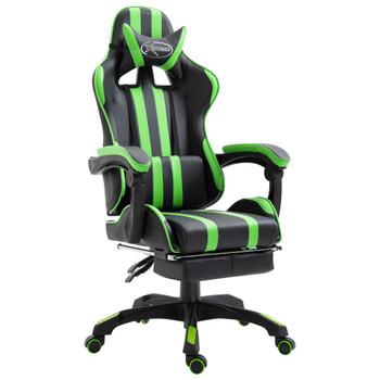 vidaXL Igraća stolica od umjetne kože s osloncem za noge zelena
