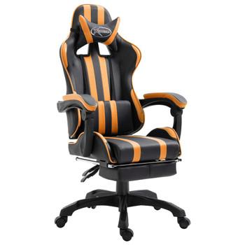 vidaXL Igraća stolica od umjetne kože s osloncem za noge narančasta