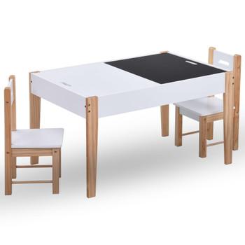 vidaXL 3-dijelni dječji set stolica i stola za crtanje crno-bijeli