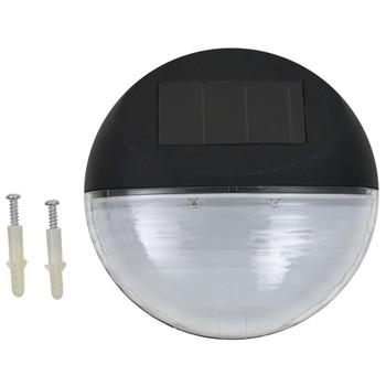 vidaXL Vrtne solarne zidne svjetiljke LED 12 kom okrugle crne